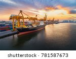 aerial view of business port...   Shutterstock . vector #781587673