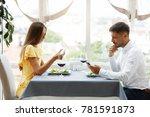 communication problem. man and... | Shutterstock . vector #781591873