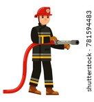 character fireman holding a...   Shutterstock .eps vector #781594483