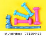gym and healthy lifestyle tools.... | Shutterstock . vector #781604413