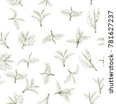 seamless pattern with green tea ...   Shutterstock .eps vector #781627237
