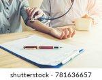 doctor measuring arterial blood ... | Shutterstock . vector #781636657
