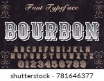 vintage font alphabet... | Shutterstock .eps vector #781646377