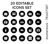 baggage icons. set of 20... | Shutterstock .eps vector #781657387