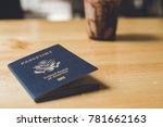 blue american passport on table ...