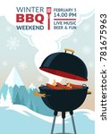 winter barbecue party... | Shutterstock .eps vector #781675963