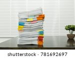 paperwork pile print document... | Shutterstock . vector #781692697