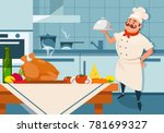 cartoon chef character holding... | Shutterstock .eps vector #781699327