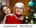 new year. senior grandma and... | Shutterstock . vector #781739113