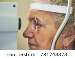 Small photo of ophthalmology. eyesight check of adult female woman