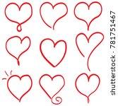 hand drawn hearts. design... | Shutterstock .eps vector #781751467