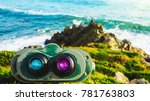 colorful telescope on the beach | Shutterstock . vector #781763803