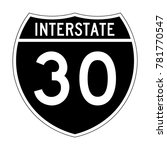 interstate highway 30 road sign ... | Shutterstock .eps vector #781770547