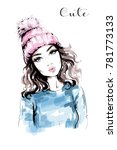 Hand drawn beautiful woman portrait. Fashion woman in knitted hat with pompom. Stylish look. Fashion girl. Sketch.   | Shutterstock vector #781773133