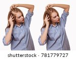 woman before and after hair... | Shutterstock . vector #781779727