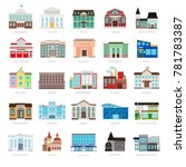 municipal library and city bank ... | Shutterstock . vector #781783387