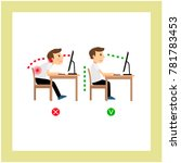 correct posture sitting before... | Shutterstock . vector #781783453