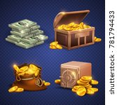 casino 3d signs and money icons.... | Shutterstock . vector #781794433