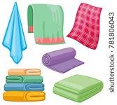 cartoon towels set. cloth towel ... | Shutterstock . vector #781806043