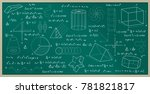 blackboard written with physics ... | Shutterstock .eps vector #781821817