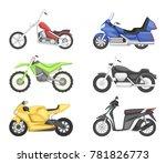 chopper  cruiser sport bike and ...   Shutterstock . vector #781826773