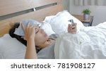 woman get sick and fever lying... | Shutterstock . vector #781908127