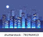 night city background. vector... | Shutterstock .eps vector #781964413