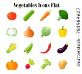 vegetables icons flat colorful | Shutterstock .eps vector #781984627