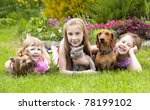 Stock photo little girls and a kitten and dog 78199102