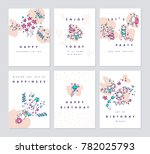 set of birthday greeting cards... | Shutterstock .eps vector #782025793
