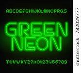 green neon tube alphabet font.... | Shutterstock .eps vector #782029777