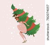 pretty girl whit christmas tree ...   Shutterstock .eps vector #782074057