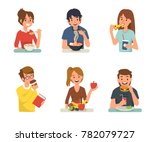people eating different meals.... | Shutterstock .eps vector #782079727