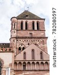 Small photo of View of St. Thomas church with five naves in Strasbourg. The Protestant Church of Saint-Thomas (Eglise Saint-Thomas) is an excellent example of Alsatian Gothic art. Strasbourg, Alsace, France.