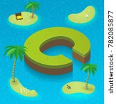 Isometric Letter C  Surrounded...