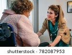 female doctor talking to... | Shutterstock . vector #782087953