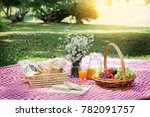 picnic lunch meal outdoors park ... | Shutterstock . vector #782091757