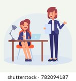 office worker with lady boss.... | Shutterstock .eps vector #782094187