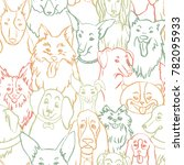 dogs seamless vector pattern.... | Shutterstock .eps vector #782095933