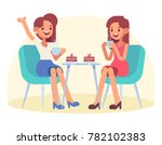 two female friends sitting in a ... | Shutterstock .eps vector #782102383