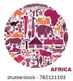 traditional symbols of africa... | Shutterstock .eps vector #782121103