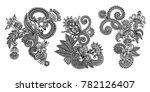 set of black line floral design ... | Shutterstock .eps vector #782126407