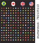 rounded world flags black... | Shutterstock .eps vector #782135113