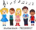 cartoon group of children... | Shutterstock .eps vector #782183017