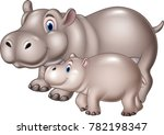 cartoon mother and baby hippo | Shutterstock .eps vector #782198347