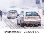driving in snow storm on... | Shutterstock . vector #782201473