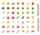 big icons set of food in flat...   Shutterstock .eps vector #782212597