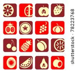 mixed fruit icons collection | Shutterstock .eps vector #78223768