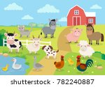 farm animals with landscape  ... | Shutterstock .eps vector #782240887