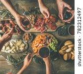 flat lay of friends hands... | Shutterstock . vector #782312497